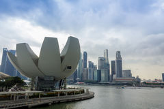 Lotus-förmiges ArtScience Museum Marina Bay Thes, Singapur Lizenzfreie Stockfotografie