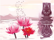 Lotus in the fantastic atmosphere. Vector vector illustration
