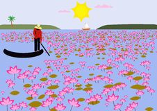 Lotus Field. Illustration of a lotus field in Vietnam Royalty Free Stock Image
