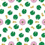 Lotus and fishes seamless pattern. Outline wallpaper, asian textile print, nature background Stock Photo