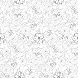 Lotus and fishes seamless pattern. Lotus and fishes on wave seamless pattern. Outline black and white wallpaper for coloring page, asian textile print, nature Stock Photos