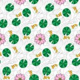 Lotus and fishes seamless pattern. Lotus and fishes on wave seamless pattern. Outline wallpaper with colorful elements for coloring page, asian textile print Royalty Free Stock Photo
