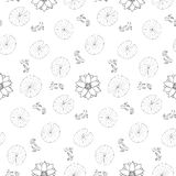 Lotus and fishes seamless pattern. Outline black and white wallpaper, asian textile print, nature background for coloring page Royalty Free Stock Photo