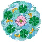 Lotus and fishes on wave background. Round outline pattern, asian textile print Stock Photo