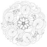 Lotus and fishes coloring page. Lotus and fishes on wave background. Round outline pattern for coloring page, asian textile print, nature composition Royalty Free Stock Photo