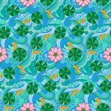 Lotus and fishes seamless pattern. Lotus and fishes on wave seamless pattern. Outline colorful wallpaper, asian textile print, nature background Stock Photos