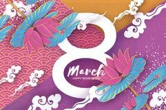 Lotus Floral Greeting-de kaart in document sneed stijl 8 Maart De gelukkige Dag van de Vrouwen` s Moeder ` s De bloemvakantie van Royalty-vrije Stock Foto's