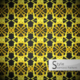 Lotus floral mesh Gold vintage geometric seamless pattern vector Royalty Free Stock Images