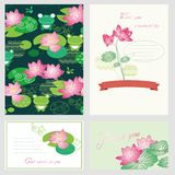 Lotus flower cards Royalty Free Stock Photography