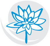 Lotus Flower in Blue. On Gray Background. Symbol of Purity and Meditation Royalty Free Stock Photo