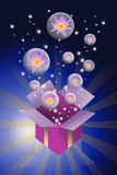 Lotus flower in bubble and gift box Stock Image