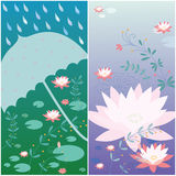 Lotus flower card Royalty Free Stock Images