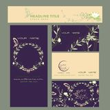 Lotus flower cards, company cards. Lotus flower and butterfly cards, company cards Stock Photography