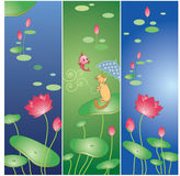 Lotus flower and cat Royalty Free Stock Photo