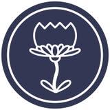 Lotus flower circular icon. A creative illustrated lotus flower circular icon image stock illustration