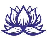 Lotus flower contour. Yoga symbol vector illustration