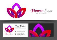 Lotus Flower Corporate Logo e modello del segno del biglietto da visita Fotografia Stock