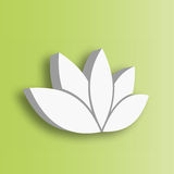 Lotus flower 3d Icon on green gradient background. Wellness, spa, yoga, beauty and healthy lifestyle theme. Vector. Illustration Royalty Free Stock Photos