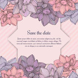 Lotus flower decorated invitation card Royalty Free Stock Images