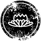 Lotus flower distressed icon. A creative illustrated lotus flower distressed icon image stock illustration
