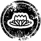 Lotus flower distressed icon symbol. A creative lotus flower distressed icon stock illustration