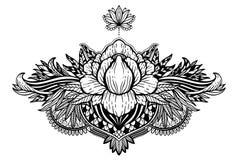 Lotus flower ethnic symbol. Black color in white background.Tattoo design motif, decoration element. Sign Asian spirituality,. Lotus flower ethnic symbol.Black royalty free illustration