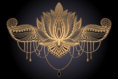 Lotus flower ethnic symbol. Gold gradient color in black background.Tattoo design motif, decoration element. Sign Asian. Spirituality,norvana and innocence vector illustration