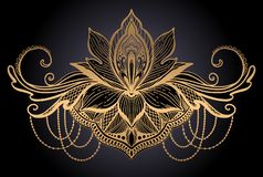 Lotus flower ethnic symbol. Gold gradient color in black background.Tattoo design motif, decoration element. Sign Asian. Spirituality,norvana and innocence stock illustration