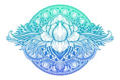 Lotus flower ethnic symbol. Gradient pastel color in white background.Tattoo design motif, decoration element. Sign Asian. Spirituality,norvana and innocence royalty free illustration