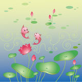 Lotus flower and fish background. Lotus flower and fish greeting card, flower background Royalty Free Stock Images