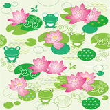 Lotus flower and forg background Stock Images