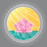Lotus Flower in Green Water in Round Label Stock Photo