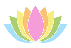 Lotus Flower Icon Logo colorida en el ejemplo blanco 1 del fondo Imagen de archivo libre de regalías