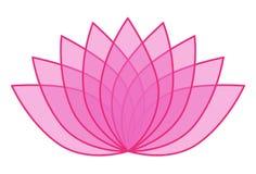 Lotus Flower Icon Logo trasparente rosa sull'illustrazione bianca 1 del fondo Immagine Stock