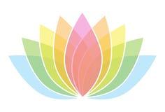 Lotus Flower Icon Logo variopinta sull'illustrazione bianca 2 del fondo Immagini Stock Libere da Diritti