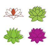 Lotus flower icon set, color outline style Royalty Free Stock Photos