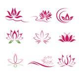 Lotus flower icons. Lotus flower shapes Stock Image