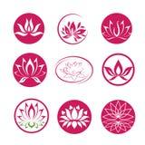 Lotus flower icons. Lotus flower shapes Royalty Free Stock Photo