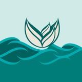 Lotus flower. Illustration lotus flower on the water stock illustration