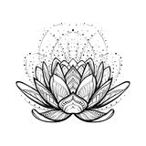 Lotus flower. Intricate stylized linear drawing isolated on white background. Concept art for Hindu yoga and spiritual designs. Tattoo design. EPS10 vector vector illustration