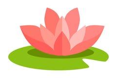 Lotus Flower Isolated dans la conception plate sur le blanc Image libre de droits