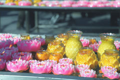 Lotus flower lamps. Some lotus flower lamps in the temple Royalty Free Stock Photos