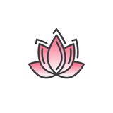 Lotus flower line icon, filled outline vector sign, linear colorful pictogram isolated on white. Spa service symbol, logo illustration Stock Image