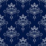 Lotus flower in mandala meditation style seamless pattern in Porcelain tone or deep blue and white ton. E background Stock Photos