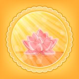 Lotus Flower in Orange Water in Round Label Royalty Free Stock Images