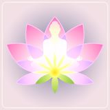 Lotus. Flower with the silhouette meditating figure Royalty Free Stock Image