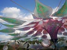 Lotus flower stage in Ozora music summer festival stock photo
