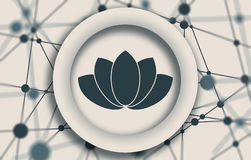 Lotus flower symbol. Design element for branding. Molecule And Communication Background. Connected lines with dots. White circle with shadows. Shallow depth of stock photography
