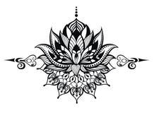 Lotus flower.Tattoo Royalty Free Stock Photos