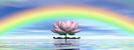 Lotus flower under rainbow - 3D render Stock Photo